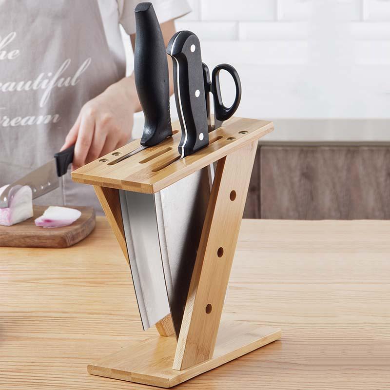 多功能楠竹交叉菜刀架 简易家用刀具用品置物架厨房插刀架
