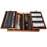168件套双层木盒儿童画 笔礼盒画画工具绘画 学习水彩笔美术套装 168件木盒套装