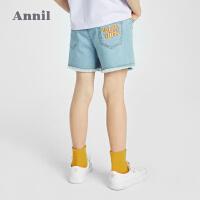 【2件4折价:87.6】安奈儿童装女童牛仔短裤2021夏新款洋气毛边女孩五分裤韩版潮中裤