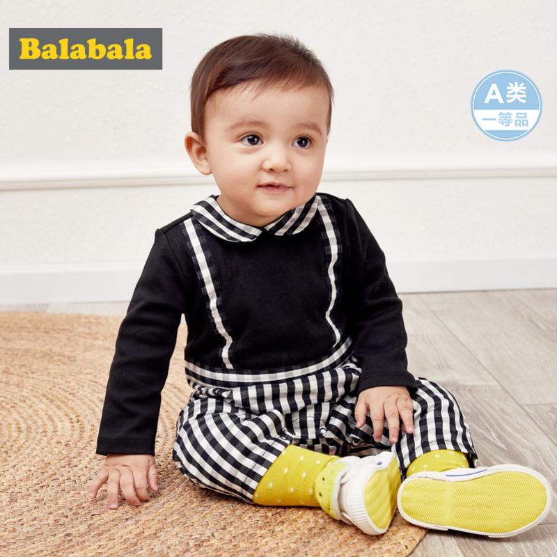巴拉巴拉新生儿婴儿衣服宝宝连体衣外出抱衣爬爬服0-1岁假两件男