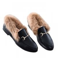 毛毛鞋女秋冬加绒兔毛鞋百搭休闲懒人保暖豆豆鞋棉鞋平底小皮鞋