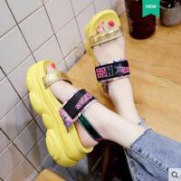 ins潮仙女风学生百搭时尚凉鞋女松糕厚底增高罗马鞋