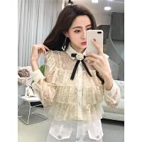 甜美蕾丝打底衫女春秋新款韩版很仙的上衣网纱蝴蝶结蛋糕衬衫