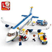 小鲁班拼装积木空中巴士飞机男孩益智玩具拼插模型小颗粒儿童礼物
