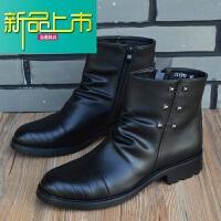 新品上市男士短靴马丁靴潮流韩版男士皮靴冬季工装尖头高帮男靴子增高
