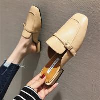 2019春季新款女鞋子方头包头休闲粗跟拖鞋韩版复古学生女士穆勒拖