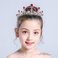 头饰儿童红色公主女童王冠头箍韩国水晶女孩头花走秀演出发饰