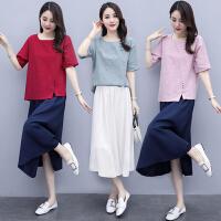 短袖套装女夏季新款女装宽松中国风盘扣纯棉套裙女