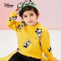 【今日3折�A估�r:72.9元】迪士尼男童毛衣�棉秋冬新款童�b上衣半高�l�y米奇�和�������衫