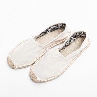 夏麻绳底布鞋民族风鞋简约中国风平底懒人鞋渔夫鞋男 白色 偏小 需拍大一码