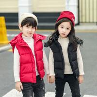 秋冬季童装儿童羽绒棉立领马甲男女童中大童小孩外穿连帽背心