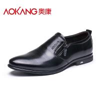 奥康皮鞋男真皮商务休闲鞋牛皮皮鞋英伦尖头皮鞋男