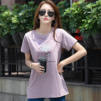 短袖t恤女夏装新款女装上衣宽松大码遮肚女士中长款洋气�B恤