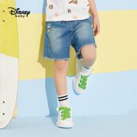 迪士尼宝宝快乐星球男童梭织牛仔短裤夏季新品