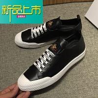 新品上市韩国专柜真皮小白鞋男士时尚休闲板鞋春秋新款透气运动皮鞋