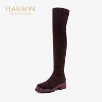 【秋冬新款 限时1折起】哈森2019冬季新款女士袜靴 弹力织物休闲粗中跟长靴大高靴HA95808