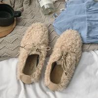 毛毛鞋女冬外穿2018新款韩版平底百搭系带豆豆单鞋温柔鞋子仙女潮