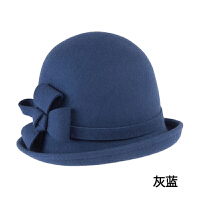 羊毛帽子 蝴蝶结礼帽 女士保暖盆帽 韩版定型帽子圆顶