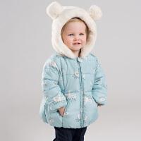 davebella戴维贝拉冬季新款女童棉衣 宝宝加厚卡通棉服DBJ11575-1