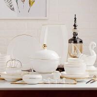 60头高档陶瓷餐具套装碗盘碟描金骨瓷餐具家用礼品景德镇骨瓷餐具套装陶瓷碗盘碟组合套装
