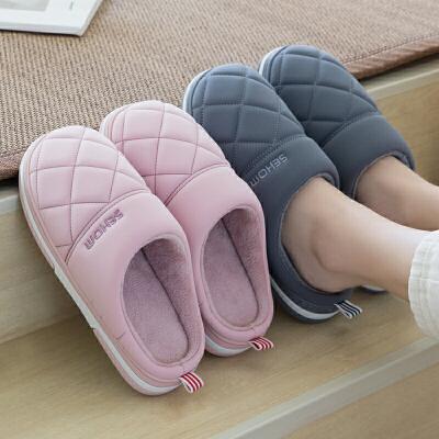 羽绒布棉拖鞋男士冬季冬季情侣家居保暖室内防滑加绒居家棉鞋女士