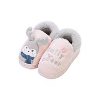 儿童拖鞋中大童男孩保暖室内棉拖鞋防滑女童包跟家居