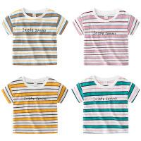 宝宝字母短袖T恤夏装男童童装儿童条纹上衣