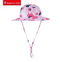 探路者儿童超轻帽 春夏户外女童海边沙滩防晒帽子QELH84014