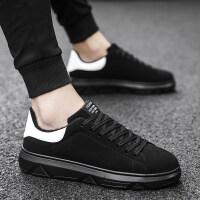 运动休闲鞋内增高学生板鞋黑底保暖棉鞋秋冬季新款男士全黑色加绒
