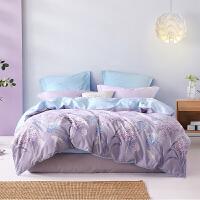 水星家纺 全棉斜纹印花四件套居家套件纯棉学生床单被套床上用品 繁花梦语