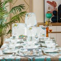 58头遨游仙境高档陶瓷餐具套装景德镇碗盘碟餐具简约清晰骨瓷餐具家用礼品