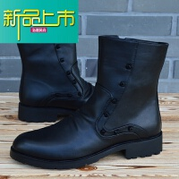 新品上市英伦尖头皮靴男士高帮皮鞋韩版马丁靴机车靴牛仔靴潮流男鞋子