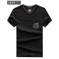 JEEP吉普短袖T恤男2019夏季新款V领t恤中青年男士时尚休闲拼接打底衫