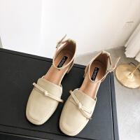 包头凉鞋女2019新款百搭韩版复古粗跟学生一字扣中空中跟玛丽珍鞋
