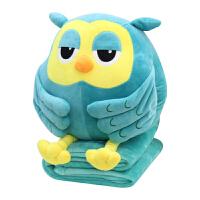 猫头鹰暖手抱枕被子插手毛绒三合一毯女生可爱韩国搞怪娃娃公仔萌 猫头鹰绿色