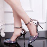 高跟鞋女细跟公主7cm中空性感单鞋夏季亮片水晶仙女单鞋一字扣带