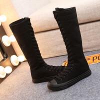 高帮鞋高筒长筒舞蹈鞋全黑色休闲帆布鞋侧拉链系带单鞋女鞋