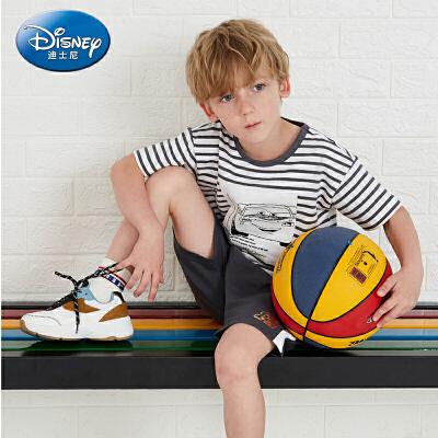 【2件3折价:65.7】迪士尼童装婴幼童男童针织短袖套装2019夏装短裤T恤2件套儿童新款