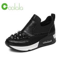 红蜻蜓旗下品牌COOLALA 春季新款休闲运动鞋女时尚牛皮革带钻气垫女鞋