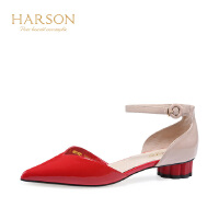 Harson/哈森 拼色牛皮革时尚舒适街头低跟潮流尖头凉鞋HM87405