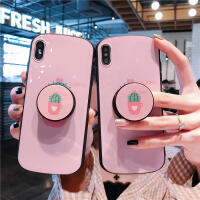 ins�n��粉色仙人掌支架iphone11promax�O果x手�C��xsmax�E�A���7plus防摔��性8plus潮牌��意6