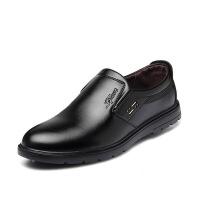 新款男士商务正装皮鞋懒人套脚鞋休闲男士工作鞋