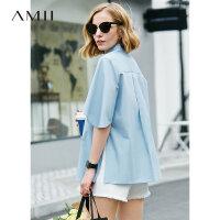 【到手价:129元】Amii极简洋气心机设计感衬衫女2019夏季新宽松全棉喇叭袖开叉上衣