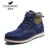 FGN/富贵鸟新款男鞋户外雪地靴休闲鞋冬季男士高帮鞋加绒保暖棉鞋D546002C