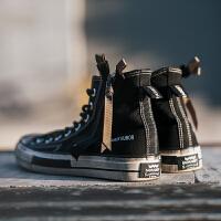 高帮帆布鞋男春季学生韩版潮流拉链黑色鞋子男士休闲鞋情侣鞋布鞋