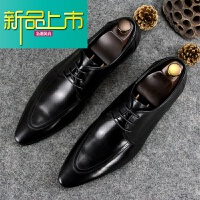 新品上市18春季新款真皮男鞋尖头英伦潮鞋子系带商务正装皮鞋时尚男婚鞋