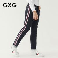 GXG男装 秋季男士青年商务流行学生帅气韩版潮流深藏青牛仔裤男