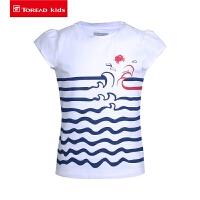 【89元2件】探路者儿童短袖T恤 春夏户外女童柔软舒适短袖T恤QAJH84015