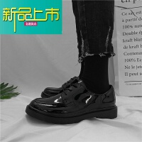 新品上市cc皮鞋皮鞋子韩版百搭学生文艺港风潮流小皮鞋男 亮黑 0081款