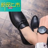 新品上市皮鞋男英伦风尖头休闲百搭韩版青年一脚蹬懒人潮流鞋子型师男鞋